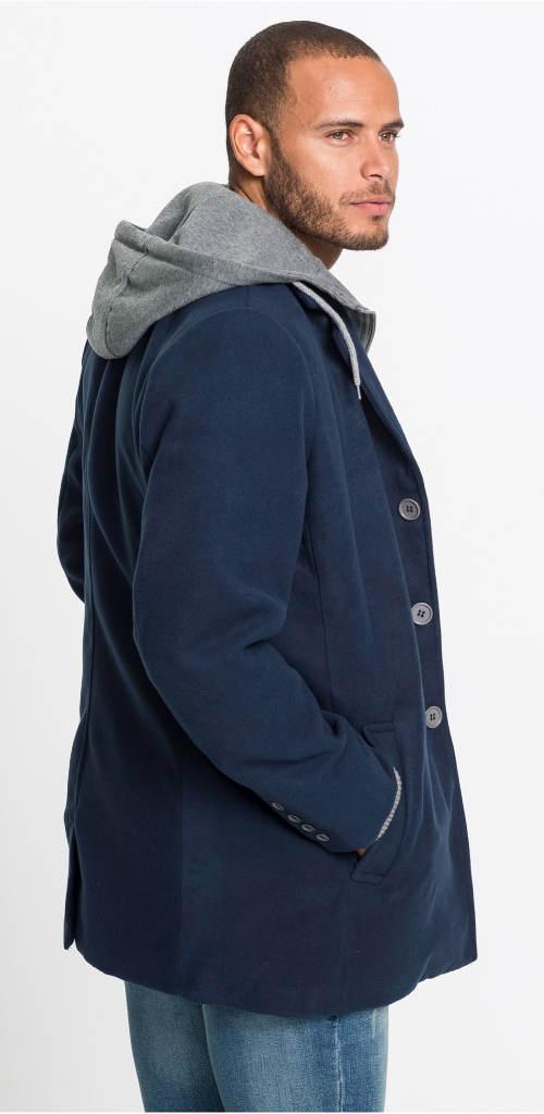 Tmavě modrý pánský kabát s šedou kapucí