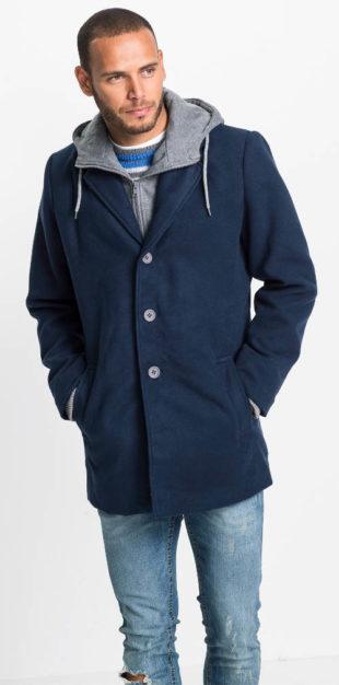 Tmavě modrý vlněný pánský kabát