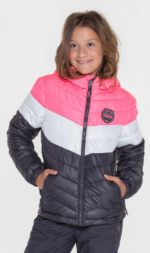 Tříbarevná holčičí zimní bunda