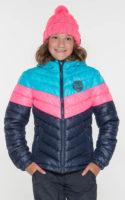 Trojbarevná prošívaná dívčí zimní bunda