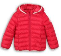 Zlevněná červená prošívaná dětská zimní bunda s kapucí