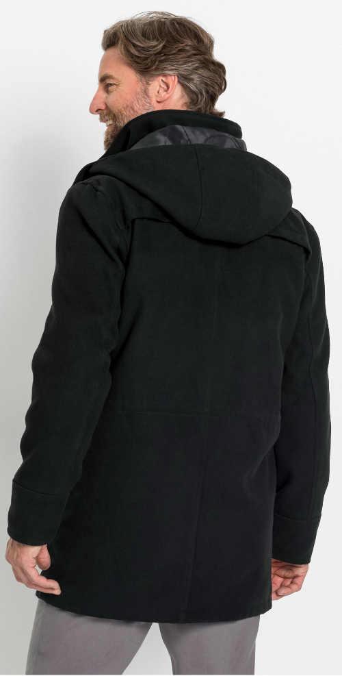 Klasický černý pánský zimní kabát