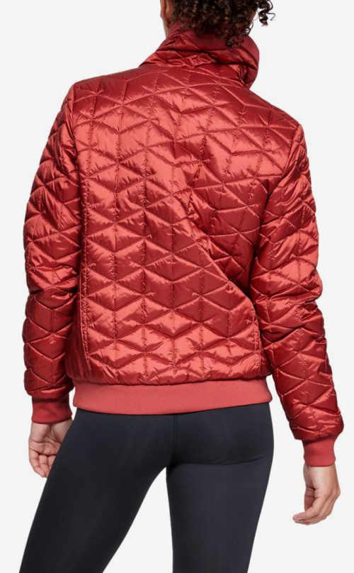Lesklá červená dámská prošívaná bunda