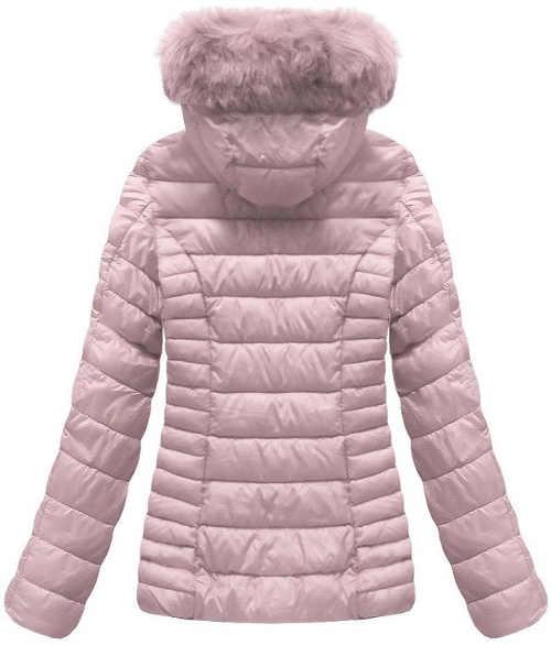 Pudrově růžová dámská zimní bunda s kapucí