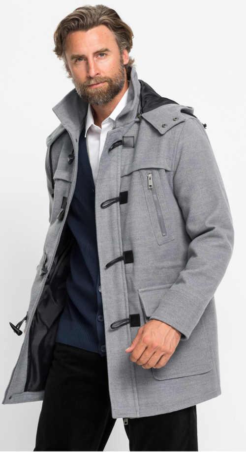 Šedý vlněný pánský kabát