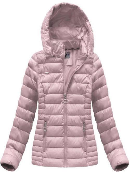 Starorůžová prošívaná zimní bunda s odepínacím kožíškem na kapuci