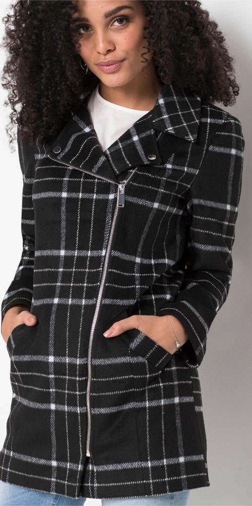 Černý dámský karovaný kabát na zip