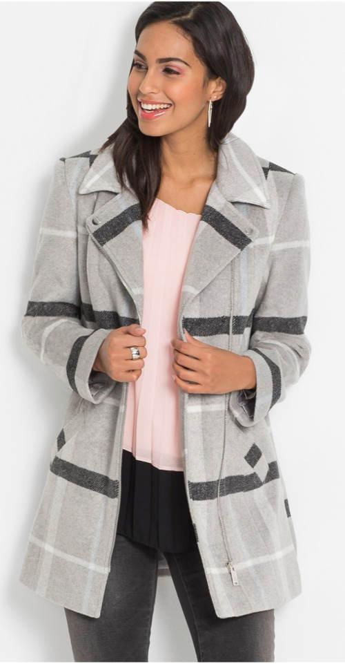 Dámský kostkovaný jarní kabát