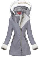Elegantní šedý zimní kabát s odepínací kapucí