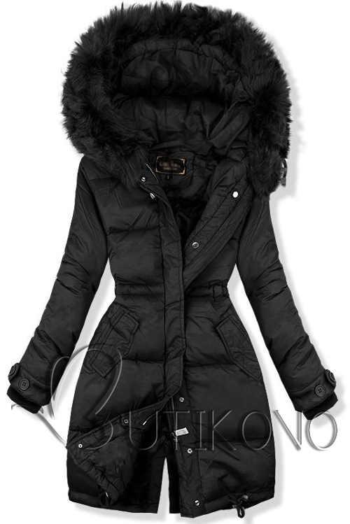 Jednobarevná černá prodloužená dámská zimní bunda