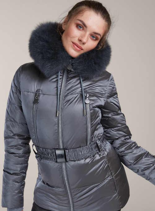 Metalická šedá péřová bunda Kara s liškou