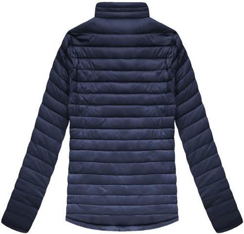Modrá pánská prošívaná bunda bez kapuce