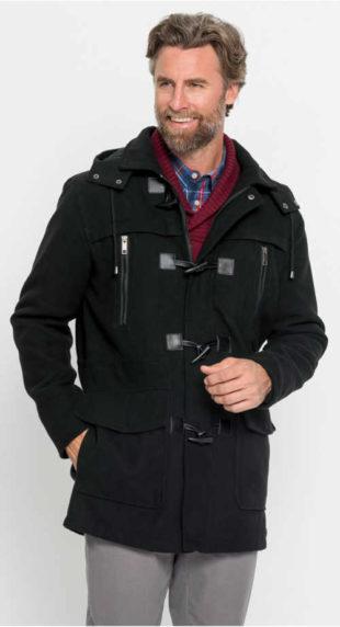 Pánský kabát Dufflecoat ve vlněném vzhledu