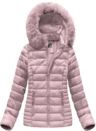 Prošívaná bunda v pudrově růžové barvě s kapucí