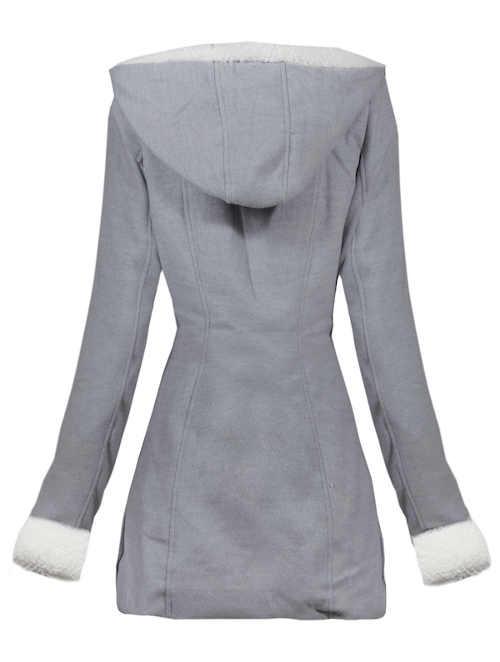 Světle šedý dámský zimní kabát s velkou kapucí