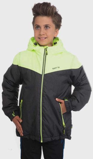 Zeleno-černá dětská bunda na zimu