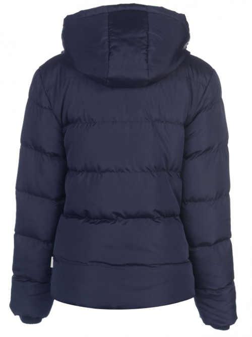 Prošívaná modrá zimní bunda s kapucí
