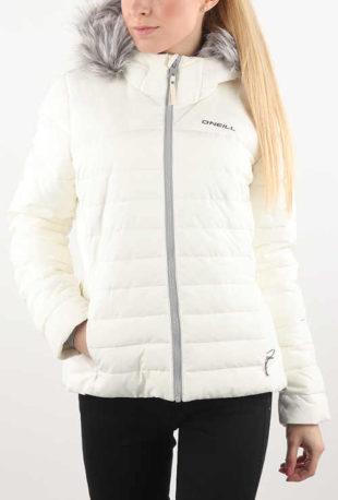 Elegantní bílá dámská zimní bunda s šedým kožíškem