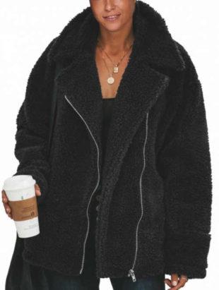 Huňatá černá dámská zimní bunda