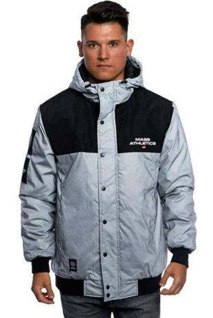 Pánská stříbrnočerná reflexní zimní bunda Mass Denim