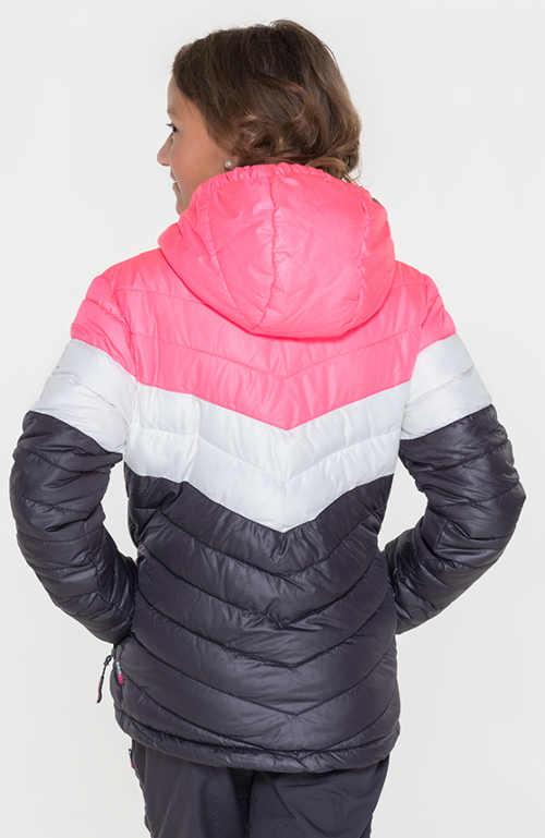 Šedo-růžová levná dětská zimní bunda