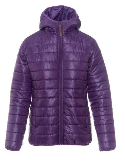 Jednobarevná fialová levná dámská zimní bunda