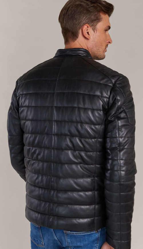 Moderní pánská zimní bunda z pravé kůže
