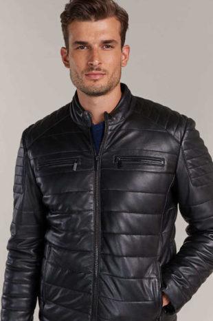 Pánská zateplená černá kožená zimní bunda Kara