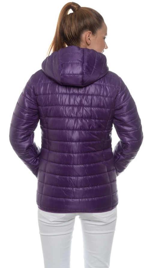 Prošívaná fialová dámská zimní bunda s kapucí