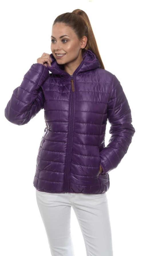 Tmavě fialová dámská prošívaná vatovaná bunda do pasu