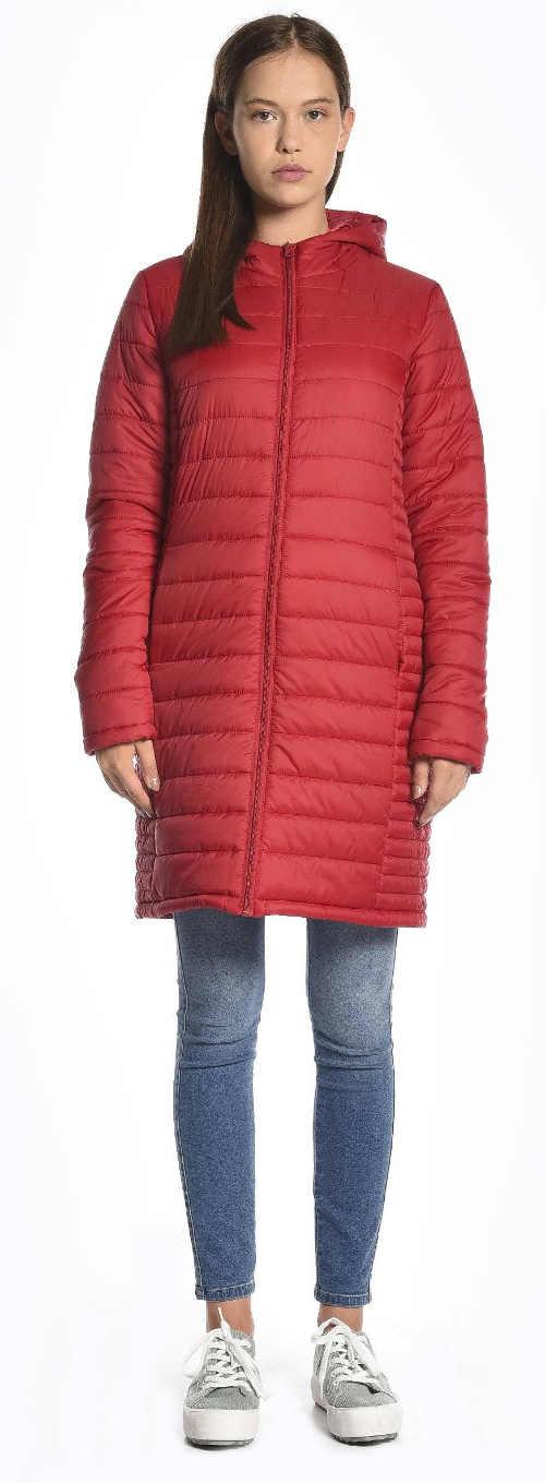 Dlouhý červený prošívaný zimní kabát pro mladé