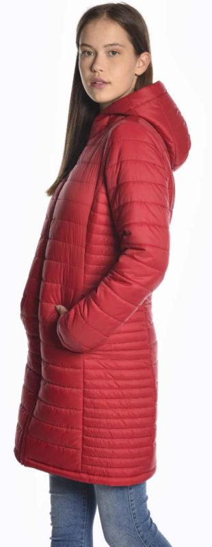 Dlouhý levný červený prošívaný zimní kabát pro mladé