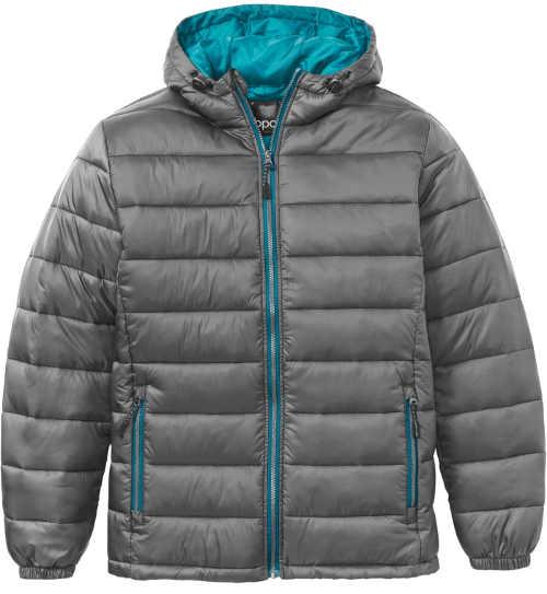 Kouřově šedá pánská zimní bunda s kapucí