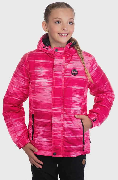 Žíhaná růžová dětská zimní bunda levně