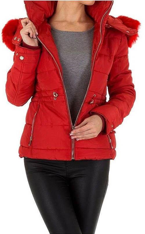 Červená dámská zimní prošívaná bunda do pasu