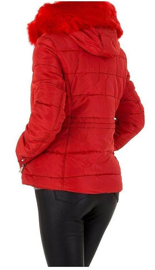 Dámská zimní bunda s červeným kožíškem