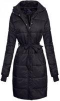 Dlouhá černá dámská zimní kabátová bunda