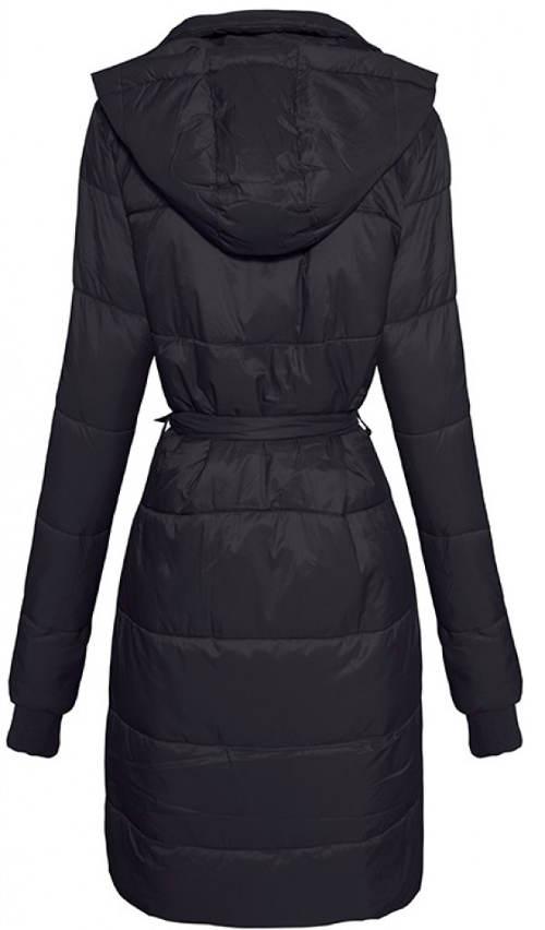 Dlouhý černý prodloužený zimní kabát