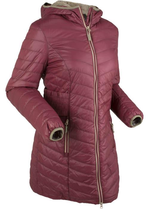Fialový prošívaný dámský zimní kabát