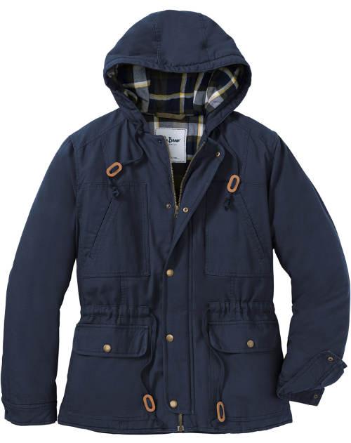 Modrá pánská zimní bunda s náprsními kapsami
