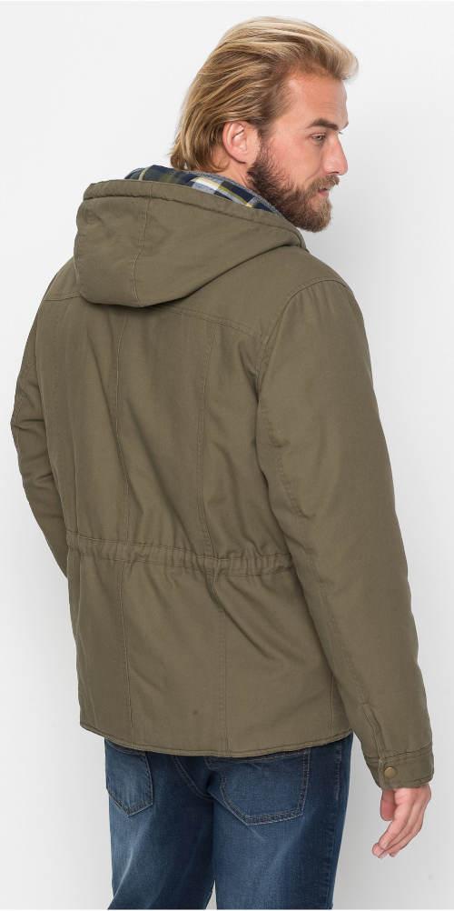 Pánská khaki bunda s kapucí