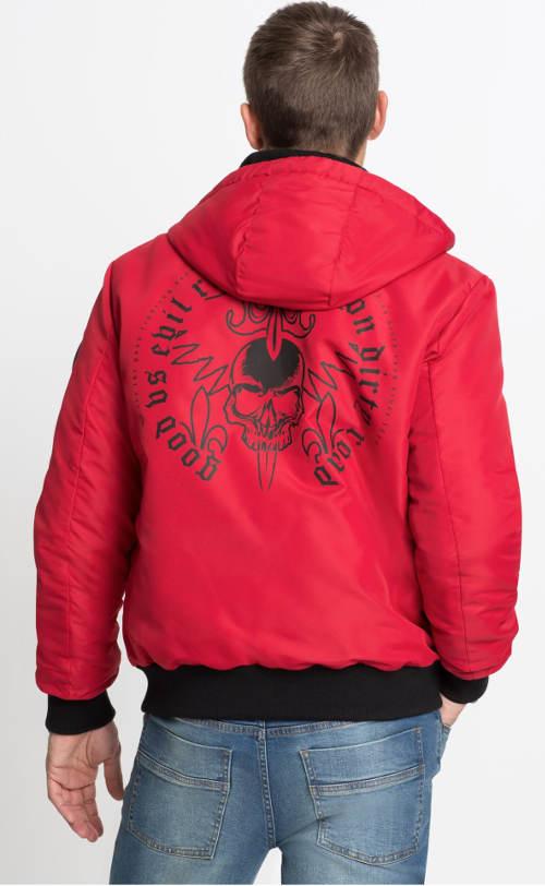 Pánský červený zimní bluzón s potiskem na zádech