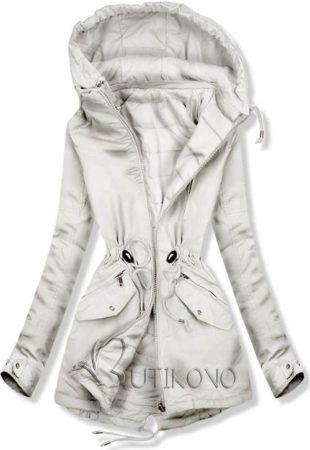 Svetlě šedá oboustranná dámská zimní bunda