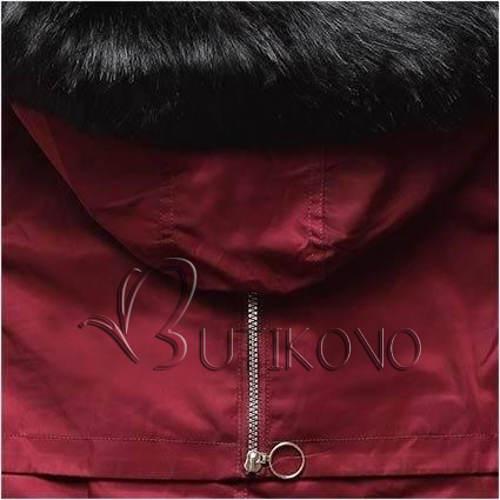 Vínová zimní bunda s černou kožešinou