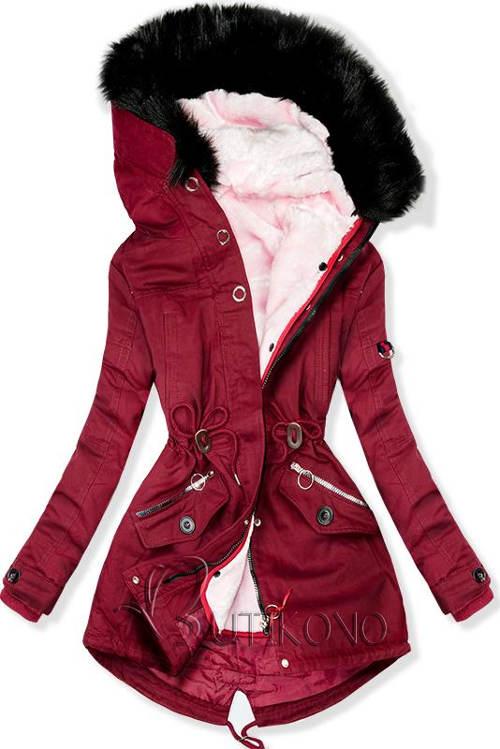 Vínový dámský zimní kabát s odnímatelnou podšívkou