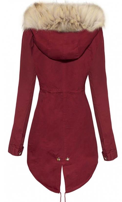 Bordó dámská zimní bunda s prodlouženým zadním dílem