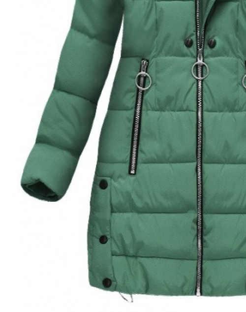Dlouhá zelená prošívaná dámská zimní bunda