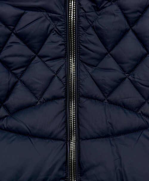 Modrá dámská zimní bunda se stříbrnými zipy