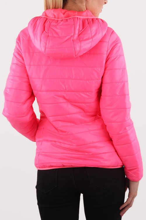 Neonově růžová dámská zimní bunda