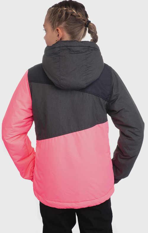 Šedo-růžová holčičí zimní bunda